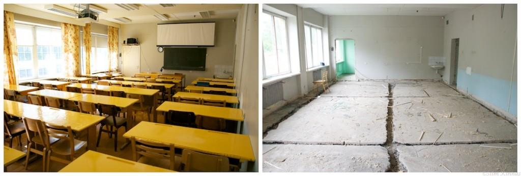 Arvutikeskuse mate klass, enne ja peale tühjendamist.